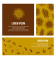 set of card graphic sunflower and sunflower seeds vector image vector image