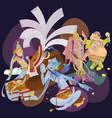 set of isolated hindu gods meditation in yoga vector image vector image