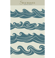 Set of seamless patterns with stylized waves vinta vector image vector image