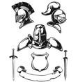 silhouette medieval knight helmet engraving vector image
