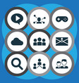 social icons set with game communication group vector image vector image