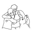 three people embracing to comfort each otherp vector image vector image
