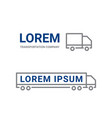 transportation logo line truck car icon vector image