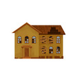 two-storey house with broken roof and boarded-up vector image vector image