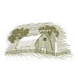 woodcut barn and silo icon vector image vector image