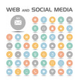 web and social media icons set on colored buttons vector image
