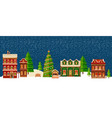 winter christmas landscape with houses vector image