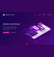 adaptive interface design isometric landing page vector image