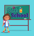 back to school poster inscription on blackboard vector image vector image