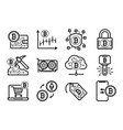 bitcoin mining icons set in black and white vector image vector image