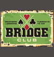 bridge club retro sign vector image vector image