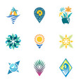 bright travel icons vector image vector image