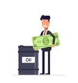 Businessman with money manager or stands near the vector image vector image