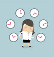 businesswoman with many clocks vector image