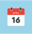 calendar day 16 april days year vector image vector image