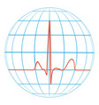 cardio planet earth heart pulse cardiogram vector image vector image