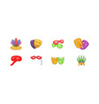 carnaval mask icon set cartoon style vector image