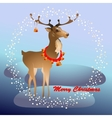 Christmas greeting card with reindeer and bells vector image vector image