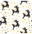christmas pattern reindeer and gold stars vector image