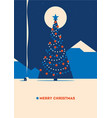 christmas tree with mountains minimalistic vector image
