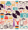 Colorful vintage hipsters icons vector image vector image
