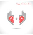 Creative hand and heart shape abstract logo vector image