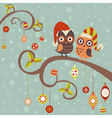 cute winter christmas card owls in hats vector image vector image
