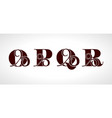 decorative capital letters o p q r for your vector image