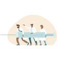 doctor fighting with coronavirus using vaccine vector image