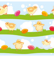 easter seamless pattern with cute cartoon chickens vector image vector image