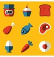 Flat icon set Food vector image