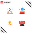 group 4 modern flat icons set for couple love