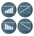 growing and downward chart icons business concept vector image