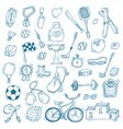 Hand drawn sport icon set Fitness and sport vector image