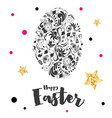 happy easter lettering with egg and golden stars vector image