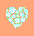 heart of scattered roses vector image vector image