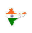 India flag map with shadow effect vector image vector image