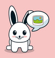 kawaii bunny bubble speech image vector image