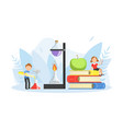 kids studying with huge school supplies boy and vector image vector image