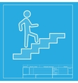 Man on Stairs going up White section of icon on vector image vector image