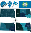 map of south dakota with regions vector image vector image