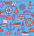 marine seamless pattern with ship icons in colored vector image vector image