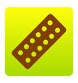 medical pills sign brown icon at green vector image vector image
