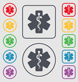 Medicine icon sign symbol on the Round and square vector image vector image