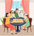 mother father and daughter play together indoors vector image vector image