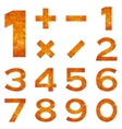 Numbers set orange lava vector image