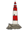 Old red lighthouse vector image vector image