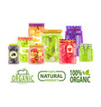 organic 100 percent natural meal preserved food vector image