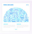 people and users concept in half circle vector image vector image