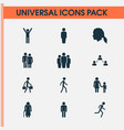 people icons set collection of family running vector image